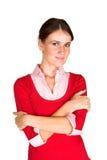 Mulher nova com braços dobrados imagens de stock