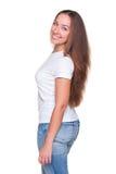 Mulher nova com cabelo longo Fotografia de Stock