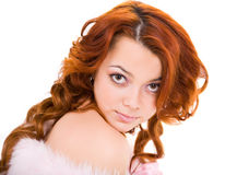 Mulher nova com cabelo longo imagens de stock