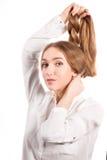 Mulher nova com cabelo longo bonito foto de stock royalty free