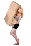 Mulher nova com caixas imagem de stock royalty free