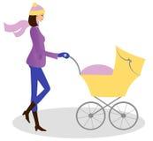 Mulher nova com carrinho de criança ilustração stock