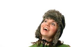 Mulher nova com chapéu do inverno imagens de stock
