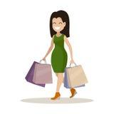 Mulher nova com compra A compra dos bens e dos presentes Imagens de Stock
