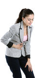 Mulher nova com dor da barriga Imagem de Stock