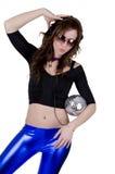 Mulher nova com esfera do disco (1) Imagens de Stock