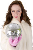 Mulher nova com esfera do disco Fotos de Stock Royalty Free