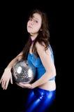 Mulher nova com esfera do disco (4) Fotografia de Stock Royalty Free