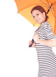 Mulher nova com guarda-chuva alaranjado Imagem de Stock