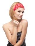 Mulher nova com headband vermelho foto de stock royalty free