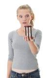 Mulher nova com hourglass fotografia de stock royalty free