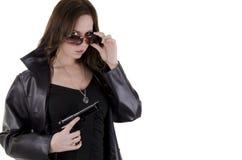 Mulher nova com injetor. (2) Imagens de Stock