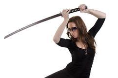 Mulher nova com katana (2) Fotografia de Stock