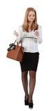 Mulher nova com móbil Fotos de Stock Royalty Free