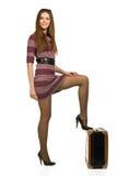 Mulher nova com mala de viagem Imagens de Stock
