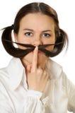 Mulher nova com moustache Fotos de Stock Royalty Free