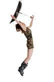 Mulher nova com o guarda-chuva fundido pelo vento. Imagens de Stock