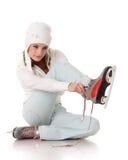 Mulher nova com patins. fotos de stock royalty free