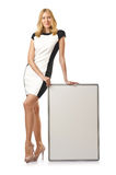 Mulher nova com placa Imagem de Stock