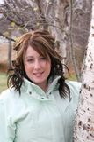 Mulher nova com revestimento sobre Imagens de Stock Royalty Free