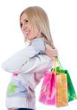 Mulher nova com saco imagem de stock royalty free