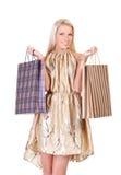 Mulher nova com sacos de compra Imagem de Stock Royalty Free