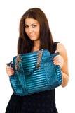 Mulher nova com sua bolsa grande Imagem de Stock