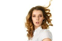 Mulher nova com vôo do cabelo abaixo imagem de stock