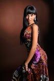 Mulher nova com vestido longo imagens de stock royalty free