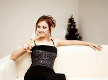 Mulher nova com vidro do vinho Foto de Stock Royalty Free
