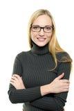Mulher nova com vidros Fotos de Stock Royalty Free
