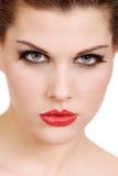 Mulher nova de Headshot com batom vermelho Fotos de Stock Royalty Free