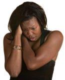 Mulher nova de Overhelmed Imagem de Stock Royalty Free