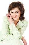 Mulher nova de riso com cabelo curly Fotografia de Stock