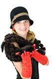 Mulher nova de sorriso bonita no chapéu marrom Fotos de Stock Royalty Free