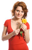 Mulher nova de sorriso com uma flor Foto de Stock Royalty Free