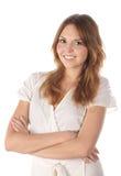 Mulher nova de sorriso no fundo branco foto de stock royalty free