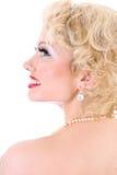 Mulher nova do blondie. Imitação de Marilyn Monroe fotos de stock