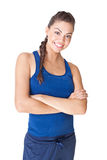 Mulher nova do esporte isolada no fundo branco Fotografia de Stock Royalty Free