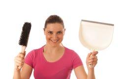 Mulher nova do líquido de limpeza isolada sobre o branco fotos de stock royalty free