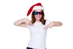 Mulher nova do Natal nos vidros 3d Foto de Stock