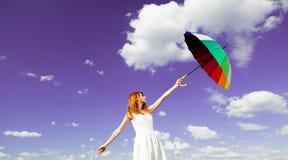 Mulher nova do redhead com guarda-chuva Imagem de Stock Royalty Free