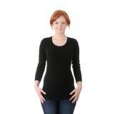 Mulher nova do redhead na roupa ocasional fotos de stock royalty free