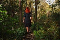 Mulher nova do ruivo nas madeiras Imagens de Stock