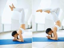 Mulher nova dos esportes no sportswear branco que faz a pose da ioga do headstand em um gym com fundo branco da parede collage fotos de stock