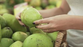 Mulher nova e bonita no supermercado que compra a manga fresca e saudável para a família Braço que escolhe os frutos saborosos video estoque