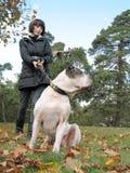 Mulher nova e cão forte foto de stock royalty free