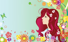 Mulher nova e flores Imagem de Stock Royalty Free