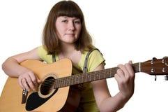 Mulher nova e guitarra Fotografia de Stock