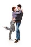 Mulher nova e homem, abraçando. Imagem de Stock